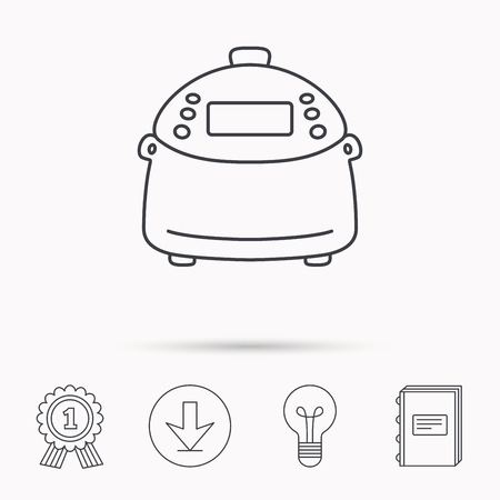 kitchen device: Multicooker icon. Kitchen electric device symbol. Download arrow, lamp, learn book and award medal icons.