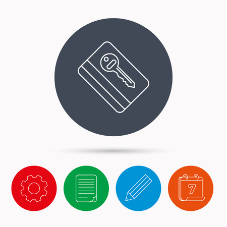 room card: Electronic key icon. Hotel room card sign. Unlock chip symbol. Calendar, cogwheel, document file and pencil icons. Illustration