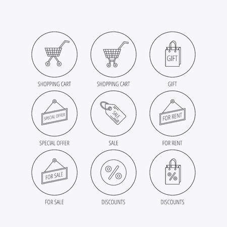 sellout: Shopping cart, gift bag and sale coupon icons. Special offer label linear signs. Discount icon. Linear colored in circle edge icons.