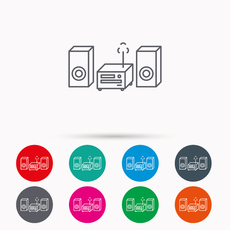 cd recorder: Music center icon. Stereo system sign. Linear icons in circles on white background. Illustration