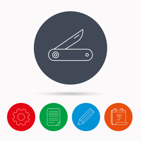 knive: Multitool knife icon. Multifunction tool sign. Hiking equipment symbol. Calendar, cogwheel, document file and pencil icons.