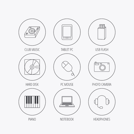 usb disk: Tablet PC, USB flash and notebook laptop icons. Club music, hard disk and photo camera linear signs. Piano, headphones icons. Linear colored in circle edge icons.