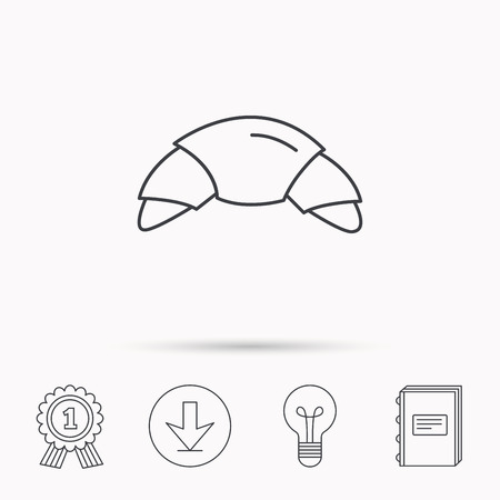 traditional french: Croissant icon. Bread bun sign. Traditional french bakery symbol. Download arrow, lamp, learn book and award medal icons. Illustration