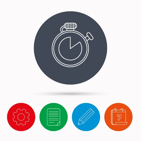 document file: Timer icon. Stopwatch sign. Sport competition symbol. Calendar, cogwheel, document file and pencil icons.