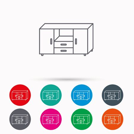 commode: Chest of drawers icon. Interior commode sign. Linear icons in circles on white background. Illustration