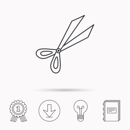 secateurs: Gardening scissors icon. Secateurs tool sign symbol. Download arrow, lamp, learn book and award medal icons.