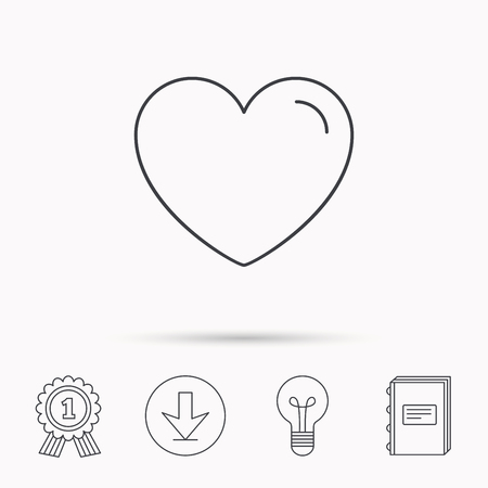 medal like: Love heart icon. Life sign. Like symbol. Download arrow, lamp, learn book and award medal icons.