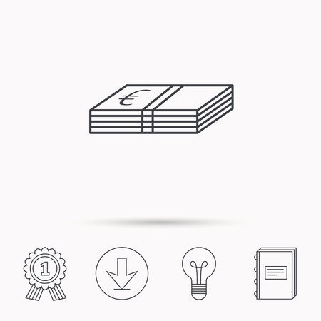 cash book: Cash icon. Euro money sign. EUR currency symbol. Download arrow, lamp, learn book and award medal icons.