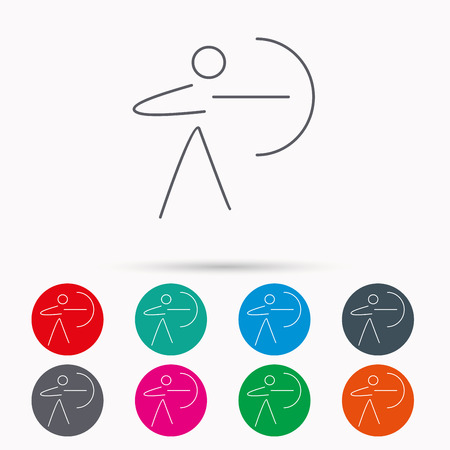 bowman: Archery sport icon. Archer with longbow sign. Aiming or targeting symbol. Linear icons in circles on white background.