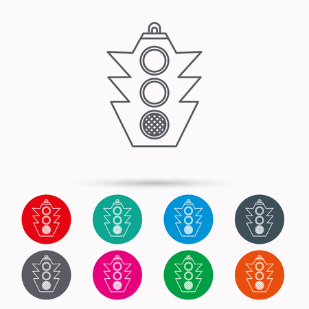 regulate: Traffic light icon. Safety direction regulate sign. Linear icons in circles on white background.
