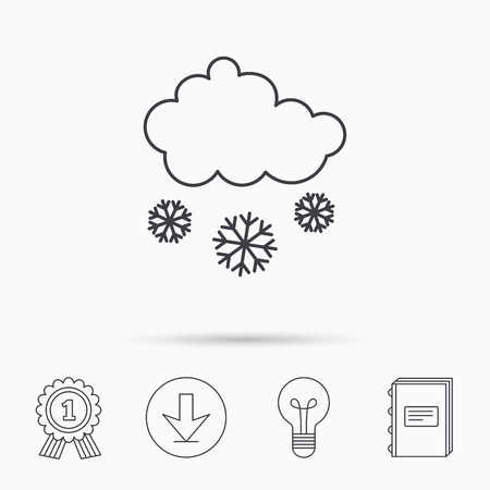 overcast: Snow icon. Snowflakes with cloud sign. Snowy overcast symbol. Download arrow, lamp, learn book and award medal icons.