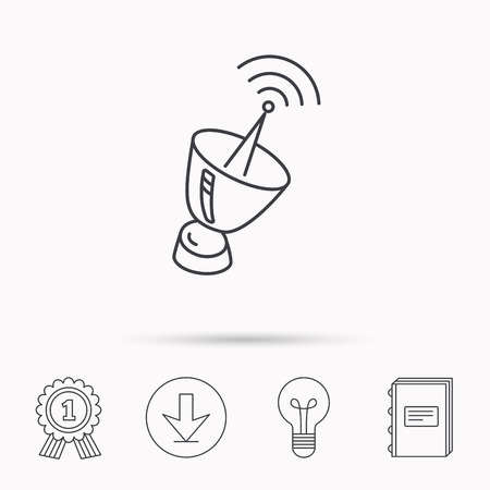 sputnik: Antenna icon. Sputnik satellite sign. Radio signal symbol. Download arrow, lamp, learn book and award medal icons.