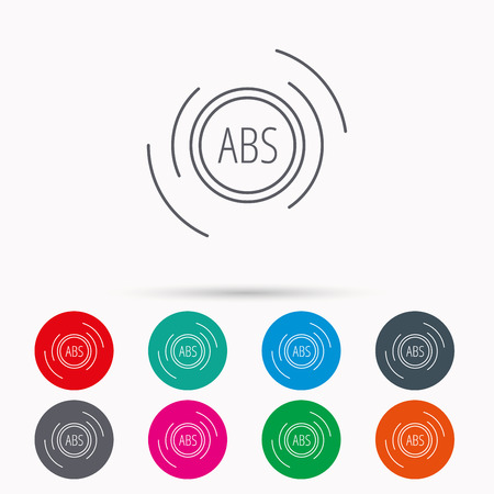 brakes: ABS icon. Brakes antilock system sign. Linear icons in circles on white background.