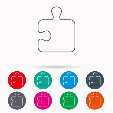 sequences: Puzzle icon. Jigsaw logical game sign. Boardgame piece symbol. Linear icons in circles on white background.
