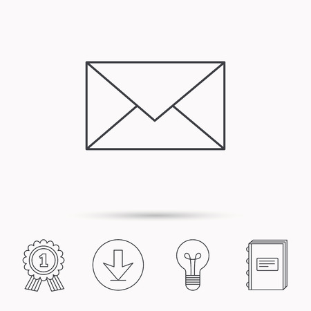 envelope icon: Envelope mail icon. Email message sign. Internet letter symbol. Download arrow, lamp, learn book and award medal icons. Illustration
