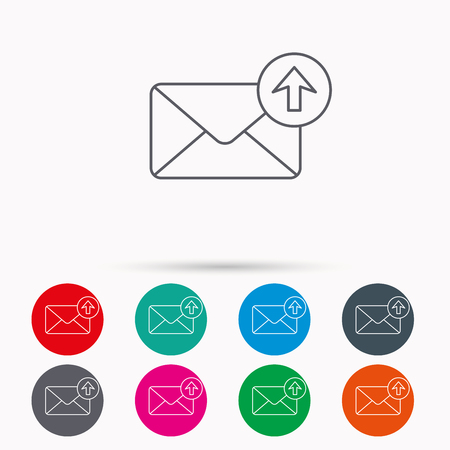 outbox: Mail outbox icon. Email message sign. Upload arrow symbol. Linear icons in circles on white background.
