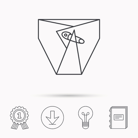 piss: Diaper with pin icon. Child underwear sign. Newborn protection symbol. Download arrow, lamp, learn book and award medal icons. Illustration
