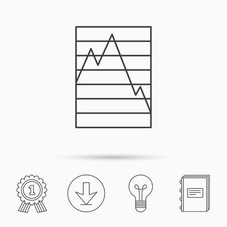 demand: Chart curve icon. Graph diagram sign. Demand reduction symbol. Download arrow, lamp, learn book and award medal icons.