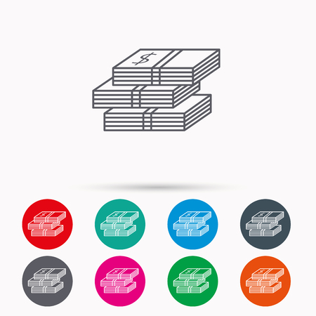 wads: Cash icon. Dollar money sign. USD currency symbol. 3 wads of money. Linear icons in circles on white background. Illustration