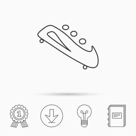 bobsleigh: Bobsleigh icon. Three-seater bobsled sign. Professional winter sport symbol. Download arrow, lamp, learn book and award medal icons.