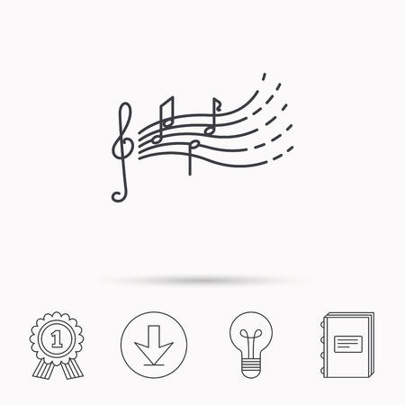songs: Songs for kids icon. Musical notes, melody sign. G-clef symbol. Download arrow, lamp, learn book and award medal icons.