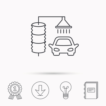 carwash: Automatic carwash icon. Cleaning station sign. Download arrow, lamp, learn book and award medal icons.