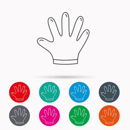 rubber gloves: Rubber gloves icon. Latex hand protection sign. Housework cleaning equipment symbol. Linear icons in circles on white background.
