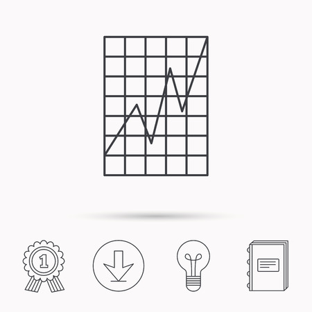 demand: Chart curve icon. Graph diagram sign. Demand growth symbol. Download arrow, lamp, learn book and award medal icons.