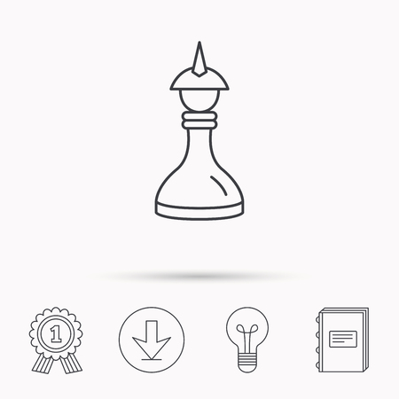 king master: Strategy icon. Chess queen or king sign. Mind game symbol. Download arrow, lamp, learn book and award medal icons.
