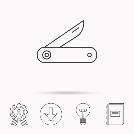 knive: Multitool knife icon. Multifunction tool sign. Hiking equipment symbol. Download arrow, lamp, learn book and award medal icons.