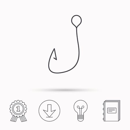 fishhook: Fishing hook icon. Fisherman equipment sign. Angling symbol. Download arrow, lamp, learn book and award medal icons. Illustration