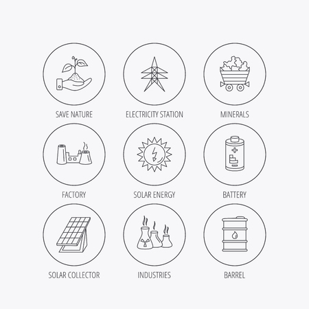 minerals: Solar collector energy, battery and oil barrel icons. Minerals, electricity station and factory linear signs. Industries, save nature icons. Linear colored in circle edge icons.