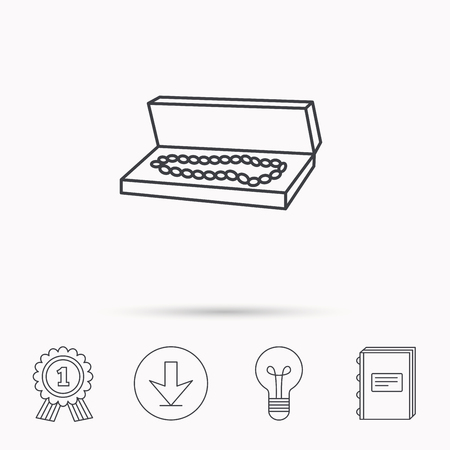 jewelry box: Jewelry box icon. Luxury precious sign. Download arrow, lamp, learn book and award medal icons.