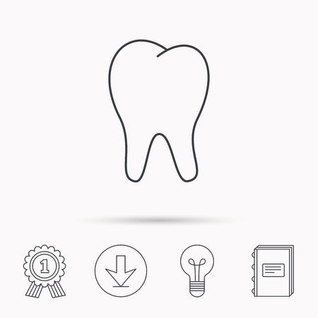 stomatology: Tooth icon. Stomatology sign. Dental care symbol. Download arrow, lamp, learn book and award medal icons.