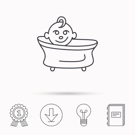 washing symbol: Baby in bath icon. Toddler bathing sign. Newborn washing symbol. Download arrow, lamp, learn book and award medal icons.
