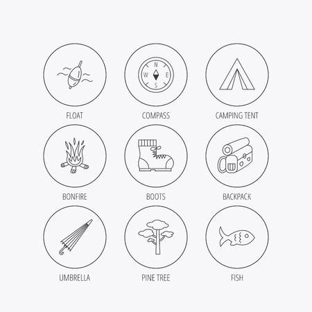 fishing float: Pine tree, fishing float and hiking boots icons. Compass, umbrella and bonfire linear signs. Camping tent, fish and backpack icons. Linear colored in circle edge icons.