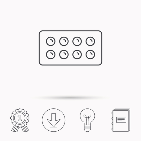 a tablet blister: Tablets icon. Medical pills sign. Painkiller drugs symbol. Download arrow, lamp, learn book and award medal icons.