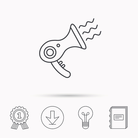 air diffuser: Hairdryer icon. Electronic blowdryer sign. Hairdresser equipment symbol. Download arrow, lamp, learn book and award medal icons.