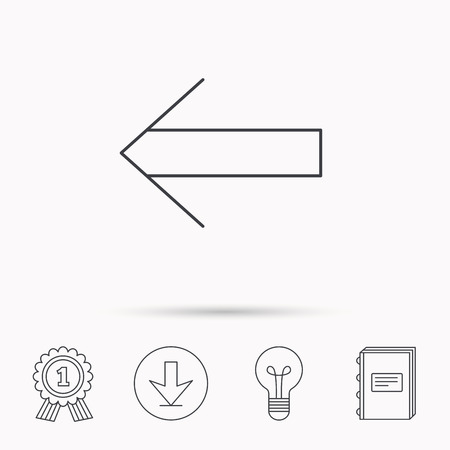back arrow: Back arrow icon. Previous sign. Left direction symbol. Download arrow, lamp, learn book and award medal icons.