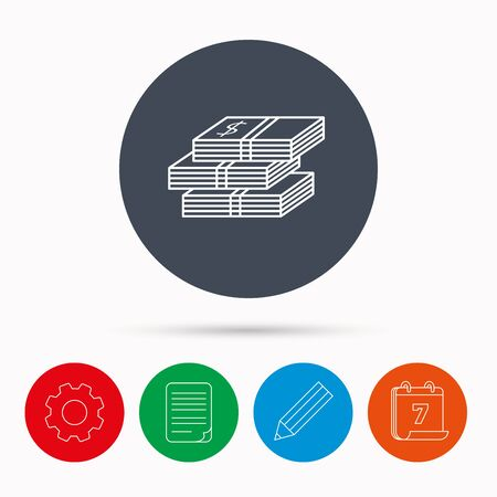 wads: Cash icon. Dollar money sign. USD currency symbol. 3 wads of money. Calendar, cogwheel, document file and pencil icons.