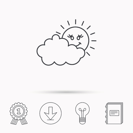 cloudy day: Cloudy day with sun icon. Overcast weather sign. Meteorology symbol. Download arrow, lamp, learn book and award medal icons.