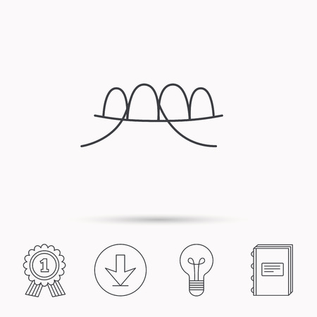 halitosis: Dental floss icon. Teeth cleaning sign. Oral hygiene symbol. Download arrow, lamp, learn book and award medal icons.