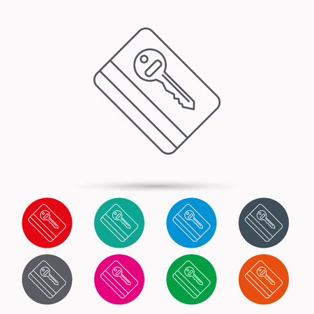 room card: Electronic key icon. Hotel room card sign. Unlock chip symbol. Linear icons in circles on white background.