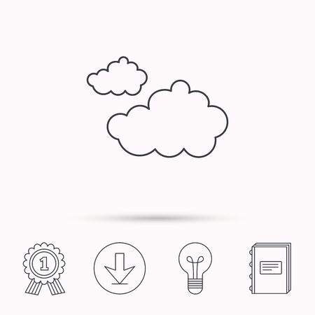overcast: Cloudy icon. Overcast weather sign. Meteorology symbol. Download arrow, lamp, learn book and award medal icons. Illustration