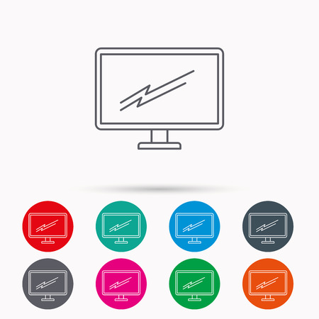 led tv: PC monitor icon. Led TV sign. Widescreen display symbol. Linear icons in circles on white background.