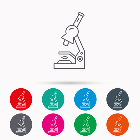 histology: Microscope icon. Medical laboratory equipment sign. Pathology or scientific symbol. Linear icons in circles on white background. Illustration