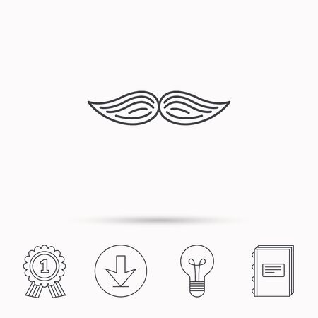 gent: Mustache icon. Hipster symbol. Gentleman sign. Download arrow, lamp, learn book and award medal icons. Illustration