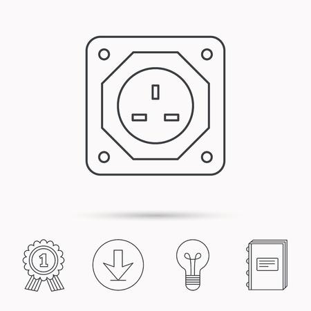 Elektro-Stecker-Symbol. Europäische Buchse Zeichen. Download-Pfeil ...