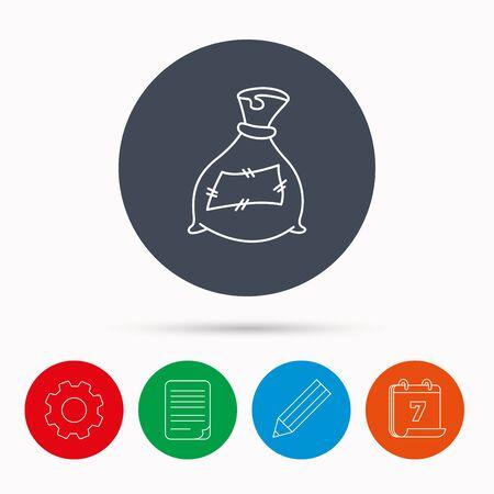 phosphate: Bag with fertilizer icon. Fertilization sack sign. Farming or agriculture symbol. Calendar, cogwheel, document file and pencil icons. Illustration