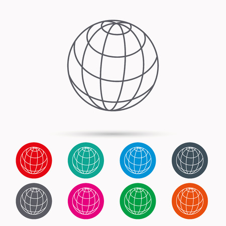 internet network: Globe icon. World travel sign. Internet network symbol. Linear icons in circles on white background. Illustration